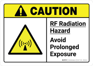 Caution: RF Radiation Hazard Avoid Prolonged Exposure with Icon ANSI Landscape - Wall Sign