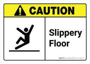 Caution: Slippery Floor with Icon ANSI Landscape - Wall Sign