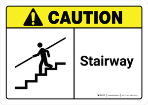 Caution: Stairway with Icon ANSI Landscape - Wall Sign