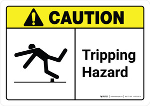 Caution: Tripping Hazard with Icon ANSI Landscape - Wall Sign