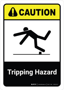 Caution: Tripping Hazard with Icon ANSI Portriat - Wall Sign