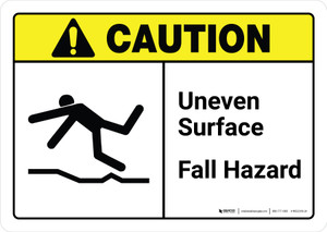 Caution: Uneven Surface Fall Hazard with Icon ANSI Landscape - Wall Sign
