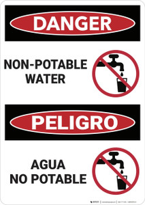 Danger: Non Potable Water Peligro Agua No Potable - Wall Sign