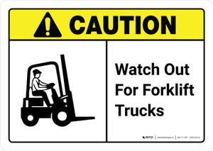 Caution: Watch Out For Forklift Trucks with Icon ANSI Landscape - Wall Sign