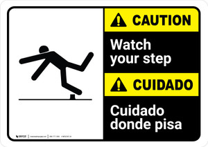 Caution: Watch Your Step Bilingual with Icon ANSI Landscape - Wall Sign