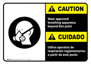 Caution: Wear Approved Breathing Apparatus Bilingual with Icon ANSI Landscape - Wall Sign
