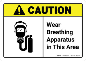 Caution: Wear Breathing Apparatus in This Area with Icon ANSI Landscape - Wall Sign