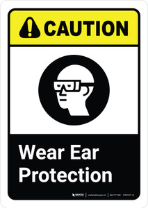 Caution: Wear Ear Protection with Icon ANSI Portrait - Wall Sign