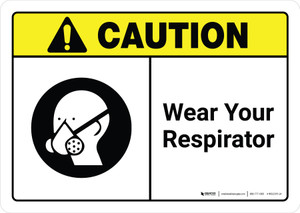 Caution: Wear Your Respirator with Icon ANSI Landscape - Wall Sign