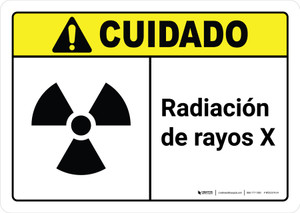 Caution: X Ray Radiation Spanish with Icon ANSI Landscape - Wall Sign