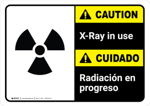 Caution: X-Ray in Use Bilingual with Icon ANSI Landscape - Wall Sign