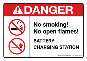 Danger: Battery Station No Smoking No Open Flames with Icons ANSI Landscape - Wall Sign