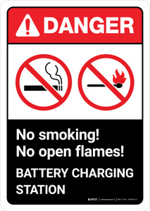 Danger: Battery Station No Smoking No Open Flames with Icons ANSI Portrait - Wall Sign