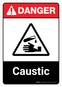 Danger: Caustic with Icon ANSI Portrait - Wall Sign
