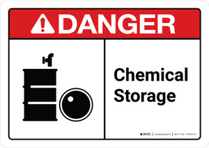 Danger: Chemical Storage with Icon ANSI Landscape - Wall Sign