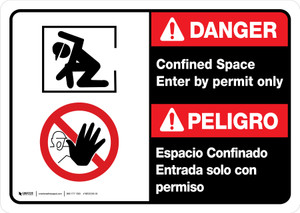 Danger: Confined Space Enter by Permit Only Bilingual with Icon ANSI Landscape - Wall Sign