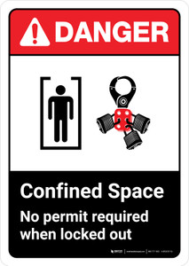 Danger: Confined Space No Permit Required When Locked Out with Icon ANSI Portrait - Wall Sign