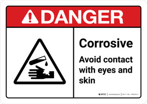 Danger: Corrosive Avoid Contact Wth Eyes And Skin with Icon ANSI Landscape - Wall Sign