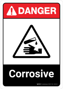 Danger: Corrosive with Icon ANSI Portrait - Wall Sign