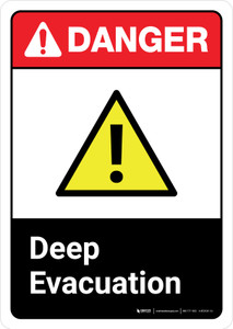 Danger: Deep Evacuation with Icon ANSI Portrait - Wall Sign