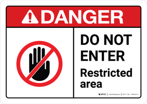 Danger: Do Not Enter Restricted Area with Icon ANSI Landscape - Wall Sign