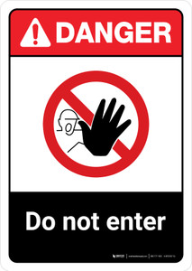 Danger: Do Not Enter with Icon ANSI Portrait - Wall Sign