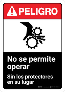 Danger: Do Not Operate Without Guards Spanish with Icon ANSI Portrait - Wall Sign