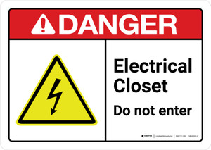 Danger: Electrical Closet Do Not Enter with Icon ANSI Landscape - Wall Sign