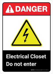Danger: Electrical Closet Do Not Enter with Icon ANSI Portrait - Wall Sign