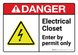 Danger: Electrical Closet Enter By Permit Only with Icon ANSI Landscape - Wall Sign