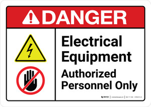 Danger: Electrical Equipment Authorized Personnel Only with Icons ANSI Landscape - Wall Sign