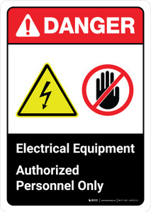 Danger: Electrical Equipment Authorized Personnel Only with Icons ANSI Portrait - Wall Sign