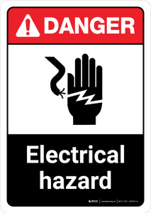 Danger: Electrical Hazard with Hand Icon ANSI Portrait - Wall Sign