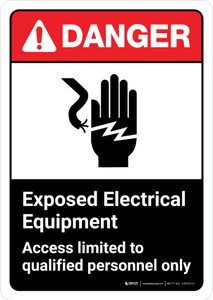 Danger: Exposed Electrical Equipment Access Qualified Personnel with Icon ANSI Portrait - Wall Sign