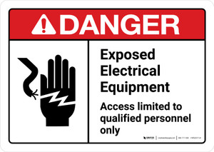 Danger: Exposed Electrical Equipment Qualified Personnel Only with Icon ANSI Landscape - Wall Sign