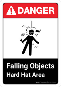 Danger: Falling Objects Hard Hat Area with Icon ANSI Portrait - Wall Sign