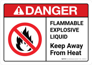Danger: Flammable Explosive Liquid Keep Away From Heat with Icon ANSI Landscape - Wall Sign