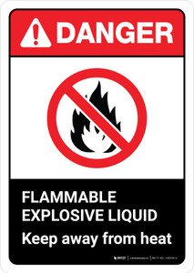Danger: Flammable Explosive Liquid Keep Away From Heat with Icon ANSI Portrait - Wall Sign