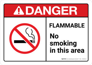Danger: Flammable No Smoking In This Area with Icon ANSI Landscape - Wall Sign