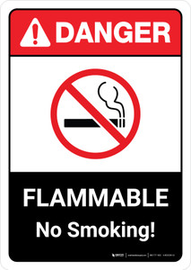 Danger: Flammable No Smoking Sign with Icon ANSI Portrait - Wall Sign