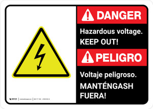 Danger: Hazardous Voltage Keep Out Bilingual with Icon ANSI Landscape - Wall Sign