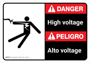 Danger: High Voltage Bilingual with Icon ANSI Landscape - Wall Sign