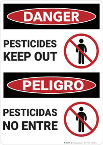 Danger: Pesticides Keep Out Bilingual - Wall Sign