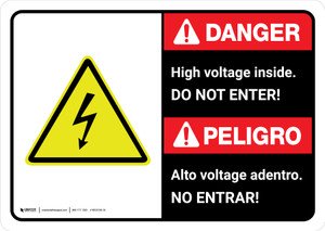 Danger: High Voltage Do Not Enter Bilingual with Icon ANSI Landscape - Wall Sign