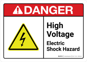Danger: High Voltage Electrical Shock Hazard with Icon ANSI Landscape - Wall Sign