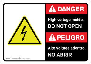 Danger: High Voltage Inside Do Not Enter Bilingual with Icon ANSI Landscape - Wall Sign