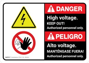 Danger: High Voltage Keep Out Authorized Personnel Only Bilingual with Icon ANSI Landscape - Wall Sign