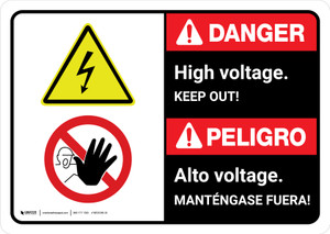 Danger: High Voltage Keep Out Bilingual with Icons ANSI Landscape - Wall Sign