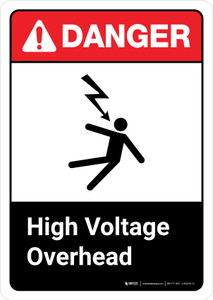 Danger: High Voltage Overhead with Graphic with Icon ANSI Portrait - Wall Sign