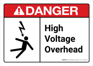 Danger: High Voltage Overhead with Icon ANSI Landscape - Wall Sign